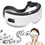 Masajeador de Ojos, Masajeador Electrónico Plegable Recargable con Presión de Aire, Compresión del Calor y Bluetooth Música para Ojo Seco Relajarse Visión Ojo Oscuro Círculos Estrés Alivio (Blanco)
