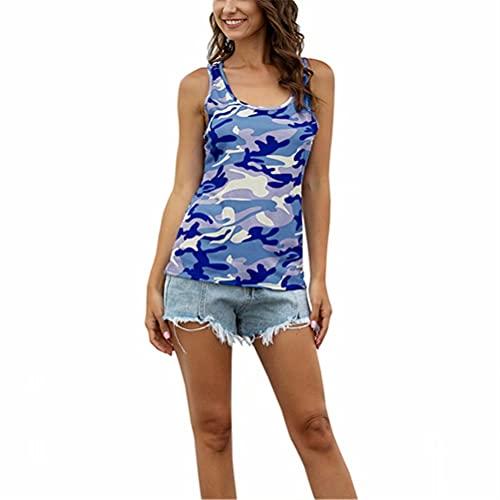 ZFQQ Camiseta sin Mangas Casual del Chaleco de la Moda del Camuflaje del Verano de Las Mujeres