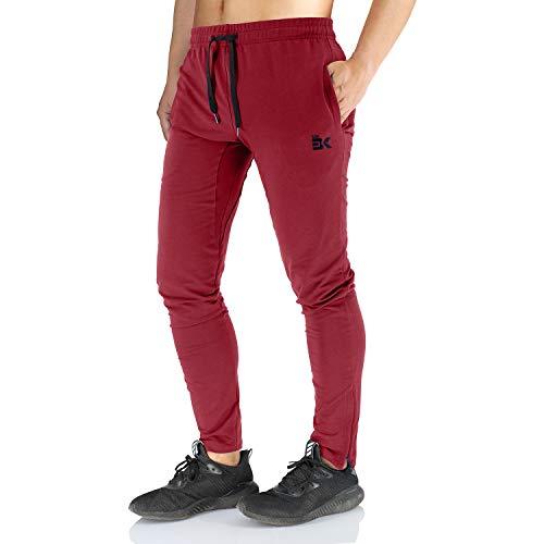 Broki - Pantaloni da jogging da uomo, con cerniera, stile casual, per palestra, fitness, vestibilità aderente, colore: nero Burgundy XL
