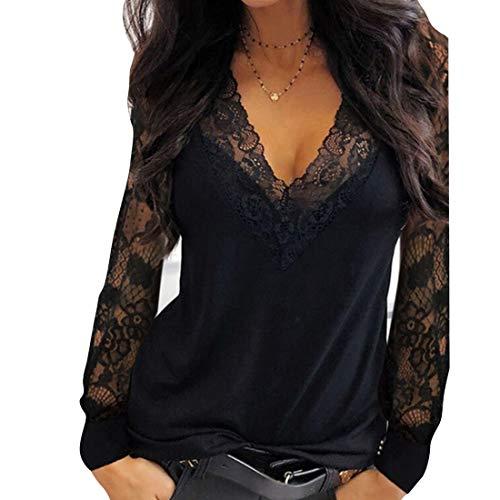 OEAK Damen Spitze Bluse Sexy V Ausschnitt Langarmshirt Slim Fit Einfarbig Patchwork Spitzenbluse mit Floral Elegant Tunika Oberteil Top(Schwarz,L)