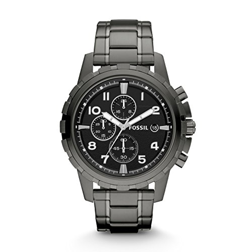 Fossil Men's Dean Quartz Stainless Chronograph Watch, Color: Grey (Model: FS4721IE)
