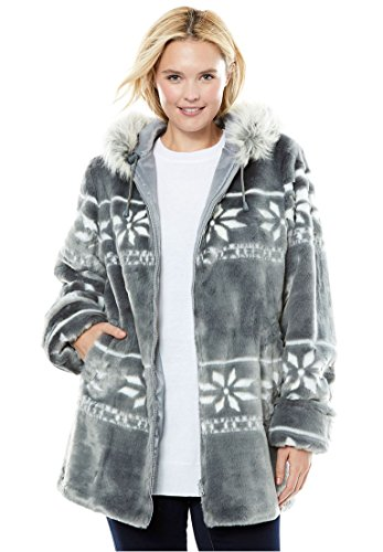Woman Within Women's Plus Size Jacket, Hooded With Faux Fur With Snowflake Pattern