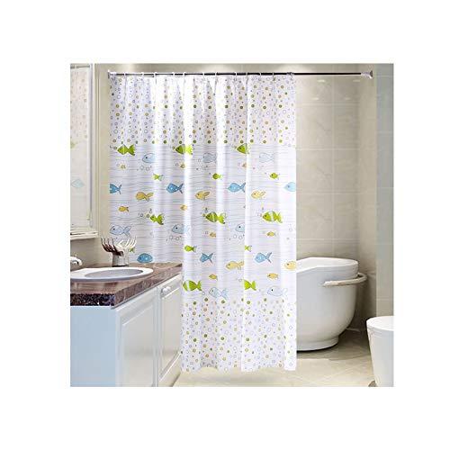 AueDsa Duschvorhang Polyester Duschvorhang Schwer Wasserdicht Fische Grün Blau Gelb Weiß Antischimmel Duschvorhang 120x200CM