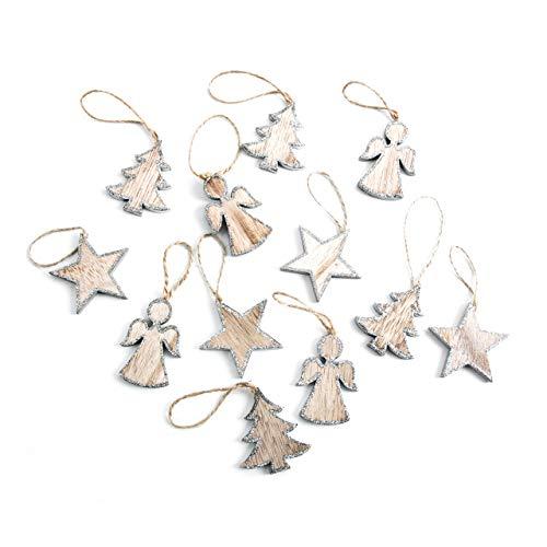 12 pequeños colgantes de madera para árbol de Navidad de 5 cm con forma de ángel, estrella natural brillante, color plateado