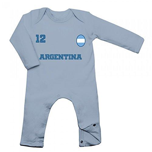 Shirt Happenz Argentinien Weltmeisterschaft 2018#24 Babybody Fan Trikot Fußball Weltmeisterschaft Nationalmannschaft Langarm Langärmliger Strampler, Farbe:Babyblau (Dusty Blue BZ13);Größe:3-6 Monate