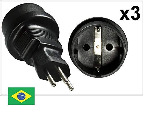 DINIC Reisestecker, Stromadapter für Brasilien auf Schutzkontakt-Buchse, 3-Pin Netzadapter (3 Stück, schwarz)