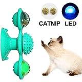 T-Lucky インタラクティブな風車の猫のおもちゃ-内蔵の光るボールとキャットニップのボール、くすぐったい猫の毛のブラシが付いた多機能のターンテーブルからかうペットのおもちゃ- 青