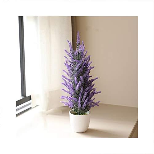 HETHYAN Árbol de eucalipto artificial de plástico en maceta, árbol de Navidad, pino, lavanda, bonsái, para decoración del hogar o boda (color: lavanda pequeña)