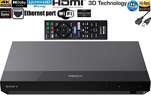 Flagship Sony - Streaming 4K Ultra HD Hi-Res Audio Dolby Atmos Wi-Fi Built-in Dolby Vision Blu-ray Player BRAVIA Theater Sync Miracast Technology Smart Capable HDR 10 - Black+ iCarp USB Extension