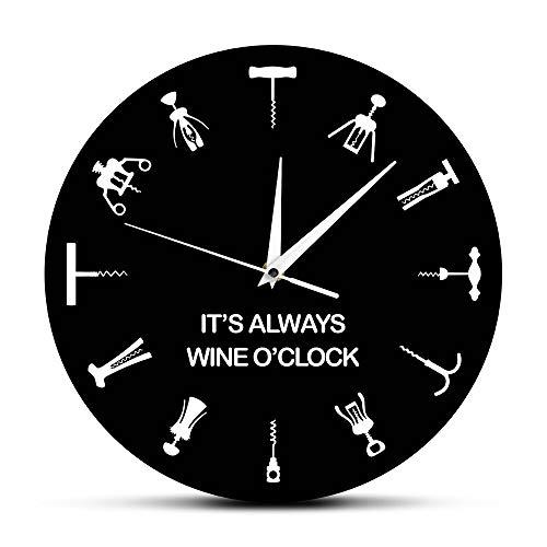 DJDLNK is altijd een wandklok uit het punt voor wijn, verschillende cocktailopeners als cijfers, Home Bar wanddecoratie, flessenopener, cadeau-idee voor wijnliefhebbers.