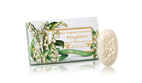 Maiglöckchenseife, oval 3 St je 100g, handgemachte italienische Seife aus Fiorentino, mit dekorativer Prägung, ideal als Geschenk
