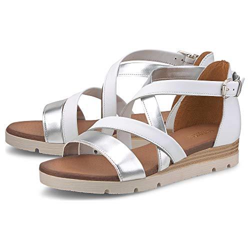DRIEVHOLT Damen Leder-Sandale Weiß Glattleder 38