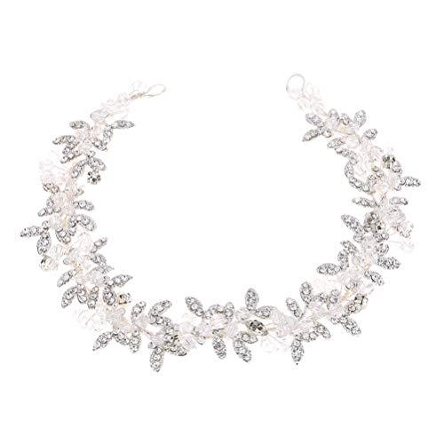 Lurrose - Cerchietto per capelli da sposa con strass, accessorio per abito da sposa (argento)