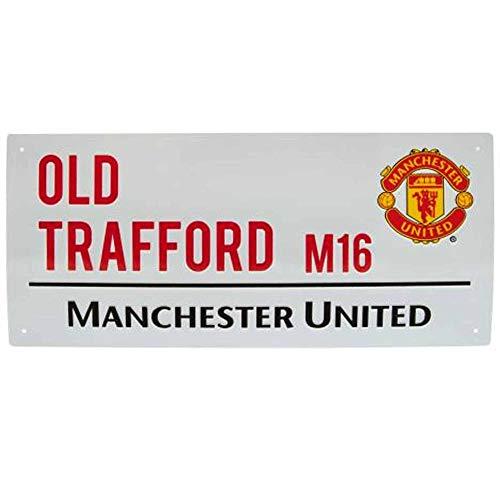 Offizielles Manchester United Old Trafford Metall-Straßenschild (40 cm x 18 cm)