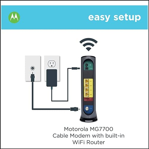 Motorola MG7700 24x8 Cable Modem Plus AC1900 Dual Band WiFi Gigabit Router con Power Boost, 1000 Mbps Maximum Docsis 3.0 – Aprobado por Comcast Xfinity, Cox y más