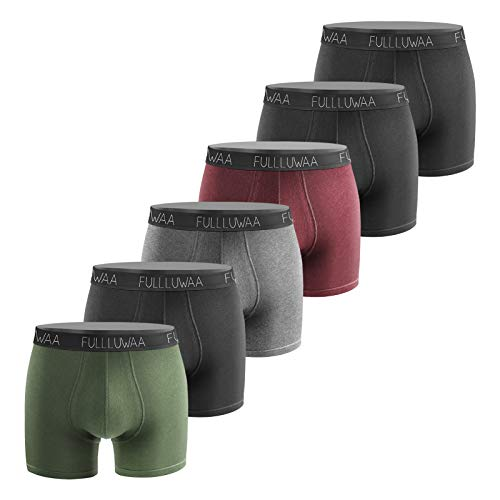 Fullluwaa - Paquete de 6 bóxers para hombre, estilo retro, de algodón, tallas S, M, L, XL, XXL, XXXL 1 verde oliva, 1 rojo vino, 1 gris oscuro, 1 negro, 3 unidades. S