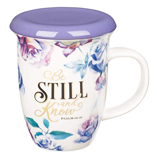 Christian Art Gifts Coffee/Tea Mug with Lid/Coaster | Be Still and Know – Psalm 46:10 Bible Verse Encouraging Gift for Women | 13 Ounce Ceramic Purple Roses Large Teacup with Lid
