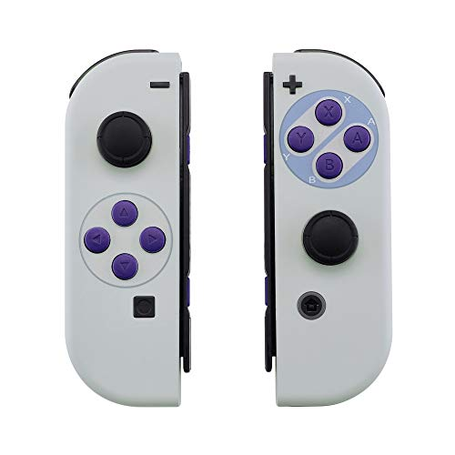 eXtremeRate Soft Touch Grip Classics SNES Style Joycon Handheld Controller Housing with Full Set Buttons, DIY Replacement Shell Case for Nintendo Switch Joy-Con  Console Shell NOT Included