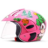 Kinder Helm Junge Elektro Motorrad Helm Mädchen Vier Jahreszeiten Universal Kind Baby Cartoon Winter Integralhelm (Farbe : Pink, größe : 10.6'x8.3'x7.9')