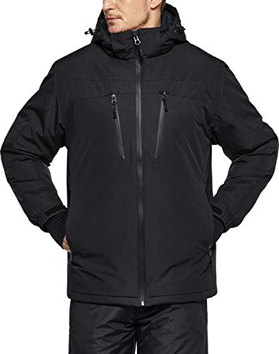Little Donkey Andy Men's Warm Winter Softshell Jacket Windproof Mountain Ski Snow Coat with Removable Hood Black M