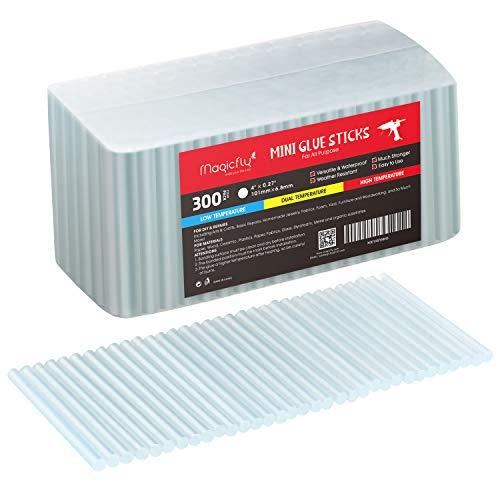 Magicfly 300 Stück Klebesticks 7mm Klebepistole Sticks Heißkleber Transparent Heisskleber Heissklebestift Klebstoff