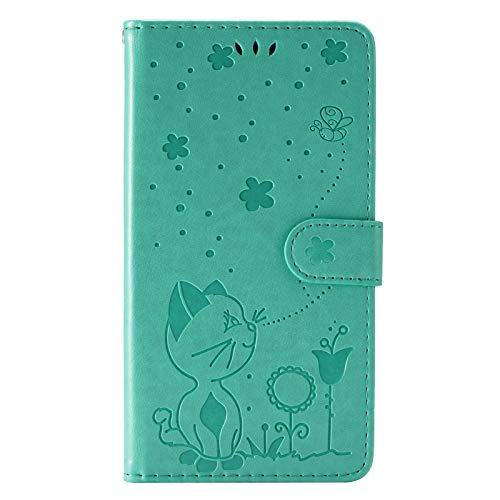 LJP Funda LG K92 5G, Patrón en Relieve 3D Gato y Abeja Verde Carcasa Libro con Tapa Flip Folio Case de PU Cuero Silicona Ranuras para Tarjetas y Billetera Magnético Cover para LG K92 5G
