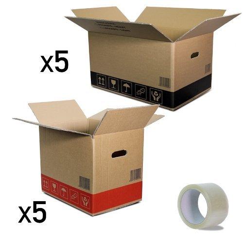 Simba Paper Design Kit Piccoli Traslochi Scatole Cartone Doppia Onda : 5 scatole Cartone cm 60x40x35 + 5 scatole cm 40x30x35 + 1 Nastro Adesivo