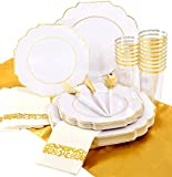 Nervure 140pcs Scalloped Gold Plastic Plates & Gold Plastic Silverware with White Handle :40 Plates, 20 Cups, 20 Forks, 20 Knives, 20 Spoons, 20 Napkins Perfect for Parties & Christmas