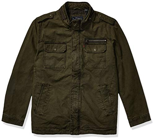 Levi's Men's Washed Cotton Two Pocket Military Jacket (Regular and Big and Tall Sizes), Olive, Medium