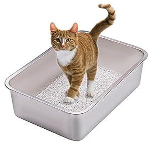 Yangbaga Katzentoilette Groß, Katzentoilette aus Edelstahl, robuste Katzentoilette, Nicht leicht zu verzerren… 2