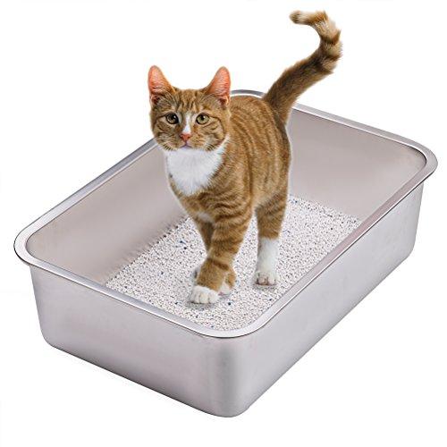 Yangbaga Katzentoilette Groß, Katzentoilette aus Edelstahl, robuste Katzentoilette, Nicht leicht zu verzerren, Kaninchentoilette, Toilette für großes Häschen und große Katze, 50x 35x 15 cm(Silber)