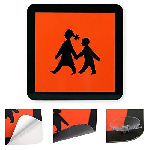 Schulbusschild aus hochwertiger Markenreflexfolie von Orafol - in verschiedenen Ausführungen und Größen (Selbstklebend, 400 x 400 mm)