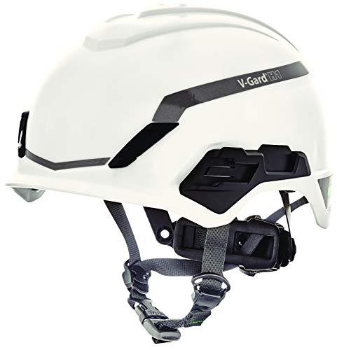 Casco de Seguridad Industrial para Escalada MSA V-Gard H1 - Novent - Blanco - 52–64 cm - Casco con barboquejo para Trabajo en Alturas y Rescate - EN397 y ANSI