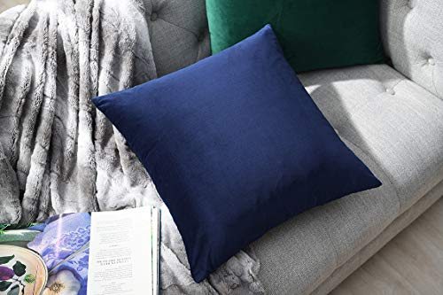 COMFORTLAND New Year/Christmas Decorative Couch Pillow Cases 18x18 Dark Blue: 4 Pack Cozy Soft Velvet Square Throw Pillow Covers for Farmhouse Sofa Bed Chair Home Decor Decorations