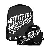 Conjunto de mochila escolar,El equipo de rugby All Blacks de Nueva Zelanda,con bolsa de almuerzo y estuche para lápices para mochila para adolescentes