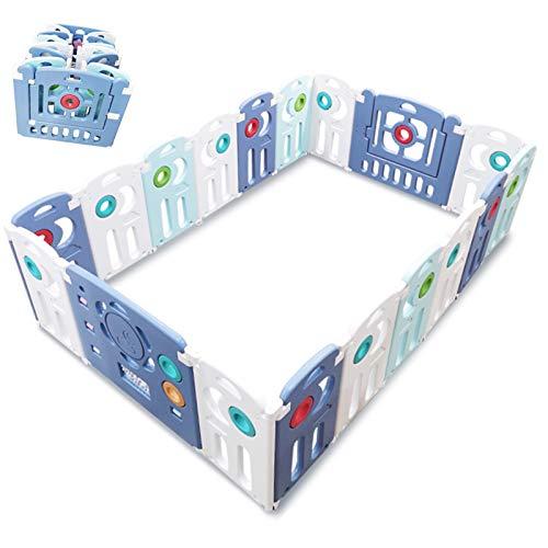 OSHA HJWMM Parque de Bebés, Portátil Valla de Juegos para Bebés y Niños Centro de Actividades for Niños con Panel de Juego para el Hogar, Viajes, Playa (Color : Blue, Size : 216x140cm)