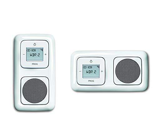 Busch Jäger Unterputz UP Digitalradio 8215 U (8215U) alpinweiß Komplett-Set Reflex SI Lautsprecher + Radioeinheit + Abdeckungen in 2 fach Rahmen integriert