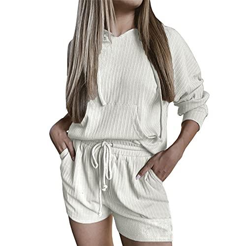 PRJN Conjuntos de Pijamas para Mujer, 2 Blusas y Pantalones de Manga Larga de Color sólido, Ropa de Dormir para Damas, Ropa de Dormir, Pijamas, Conjuntos de Pijamas para Mujeres, Conjuntos de Pijamas