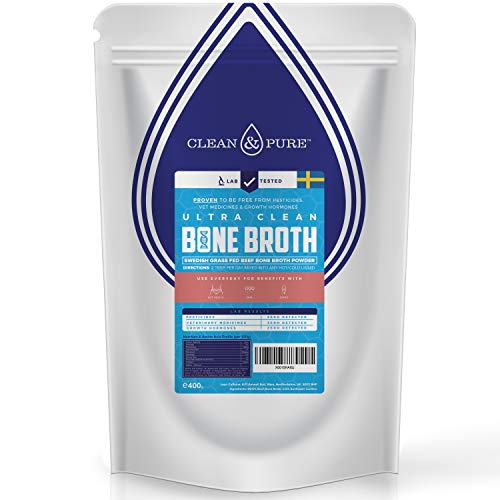 UKs Only Lab Tested Bone Broth Powder 400g | Sweden Grass Fed, Hormone & Vet Med Free Beef Bone Broth Protein Powder | 95% Beef Protein, 84% Collagen + Various Nutrients | 40 Servings | Clean And Pure