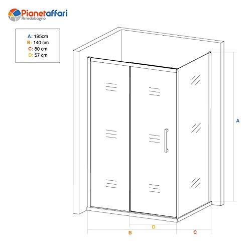 SPAZIO Space Box - Ducha Reversible Fija + Deslizante, 80 x 140 cm ...