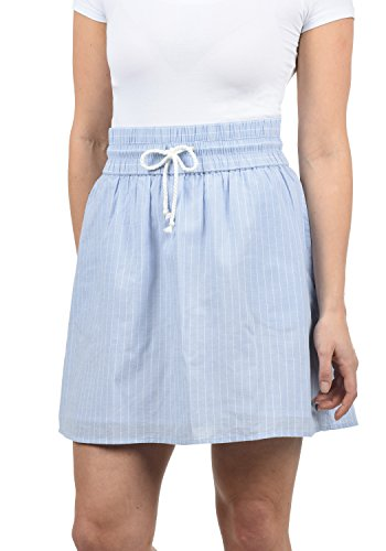 BlendShe Anno Damen Kurzer Rock Sommerrock Mit Taschen und Kordelzug Aus 100% Baumwolle Midi, Größe:M, Farbe:Light Blue (20248)