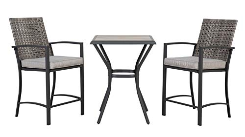 AmazonBasics 3-Piece Bar Height Patio Bistro Dining Set with Cushions, Steel and Grey