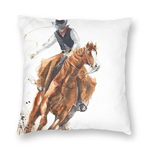 Hangdachang Cowboy Riding a Horse Pillowcases Home Decorative Super Soft Throw Cushion Cover 45 X 45 cm/18 X 18 Inch