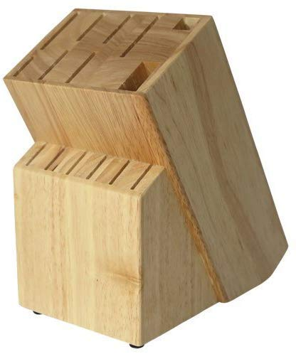 Coninx Raf Messerblock Gummibaumholz - Messerhalter - Messerblock Ohne Messer - Geignet für 13 verschiedene Messer - Messerhalter für eine Organisierte und Aufgeräumte Küche - 13 x 19 x 22 cm