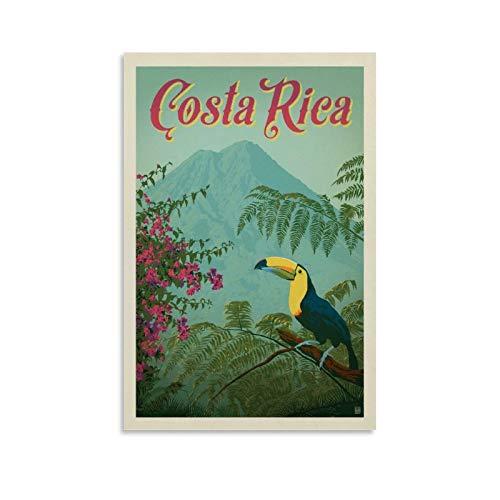 GUCII Póster vintage de viaje de Costa Rica, cuadro decorativo, lienzo para pared, sala de estar, póster, dormitorio, 30 x 45 cm