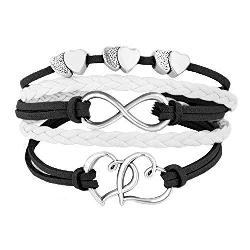 LovelyJewelry Leather Wrap Bracelets Girls Double Hearts Infinity Rope Wristband Bracelets Gifts (Black)