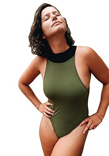 Pura Vida - Traje de baño Completo Cuello Alto para Mujer Modelo Ganso Color Verde Militar Cuello Negro- Talla S