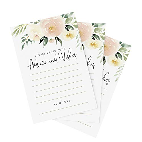 Bliss Collections Advice and Wishes Cards - 50 Blush Floral Cards, 4 x 6 Uncoated, Heavyweight Card Stock for Weddings, Receptions, Bridal Showers, Baby Showers, Graduations, Special Events