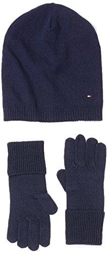 Tommy Hilfiger Damen New Odine Gloves(Handschuhe) und Beanie Giftpack Mütze, Blau (Tommy Navy 413)
