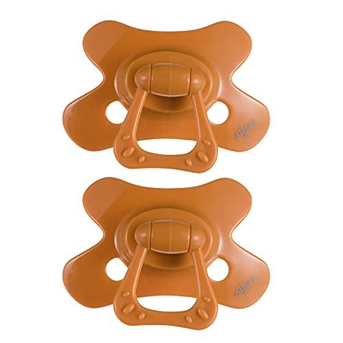 Chupete Difrax Dental 12+ Meses, Pack de 2 Chupetes de Silicona, Fáciles de Aceptar, Flujo de Aire Óptimo que Previene la Irritación de la Piel, Chupete Simétrico - Naranja